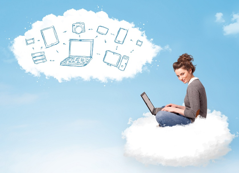 Pretty young woman sitting in cloud with laptop, cloud computing